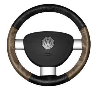 2015 Toyota Sienna Leather Steering Wheel Covers   Wheelskins Black Perf/Oak Perf 15 1/4 X 4 1/2   Wheelskins EuroPerf Perforated Leather Steering Wheel Covers