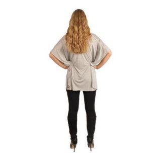 Womens J Arty Short Sleeve Printed Off Shoulder Top Light Grey