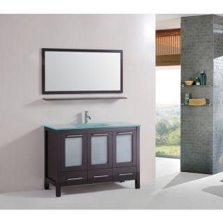 Kokols 48 inch Floor Bathroom Cabinet Tempered Glass Top with Mirror
