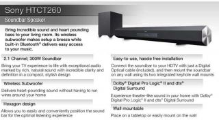 Sony 40 2.1 Channel Sound Bar   300W, Wireless subwoofer, HDMI input, Bluetooth, Dolby� Digital Pro Logic� II and dts� Digital Surround, Perfect for 40 & larger HDTVs, Refurbished