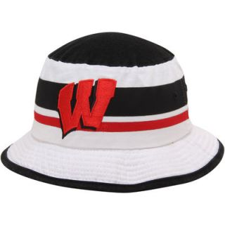 Wisconsin Badgers adidas Stripe Bucket Hat   White
