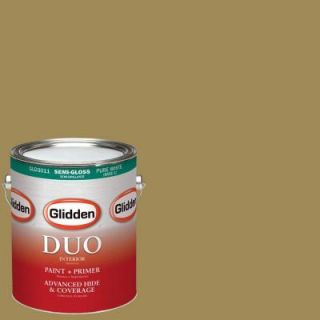 Glidden DUO 1 gal. #HDGY65D Vintage Olive Semi Gloss Latex Interior Paint with Primer HDGY65D 01S