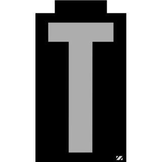 ELECTROMARK Etiqueta con Letras,T,Plateado/Negro   Letras y Números   21JV28|INTSK6.0T