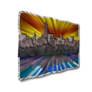 New York At Sunset by Ash Carl Original Painting on Metal Plaque by