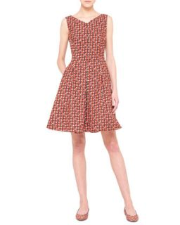 Akris Sheriff Print Fit and Flare Dress