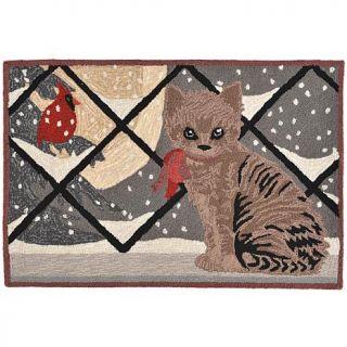 """Liora Manne Handtufted Frontporch Kitty Cat   Gray/30"""" x 48""""   7660465"""