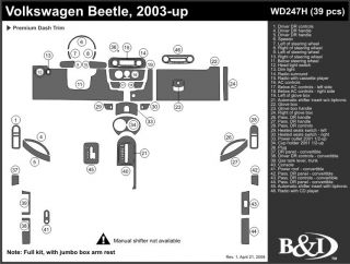 2003, 2004, 2005 Volkswagen Beetle Wood Dash Kits   B&I WD247H DCF   B&I Dash Kits