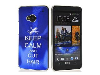 Blue HTC One M7 Aluminum Plated Hard Back Case Cover 7M274 Keep Calm and Cut Hair Scissors Comb