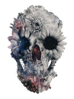 """Ali Gulecs """"Floral Skull 2"""" Adhesive Print by Walls Need Love"""