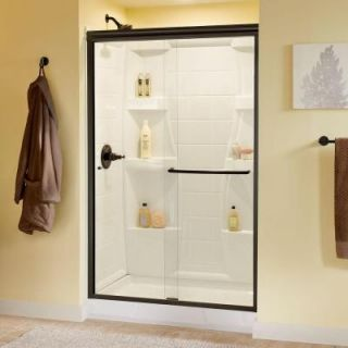Delta Simplicity 48 in. x 70 in. Semi Framed Sliding Shower Door in Bronze with Clear Glass 2421840