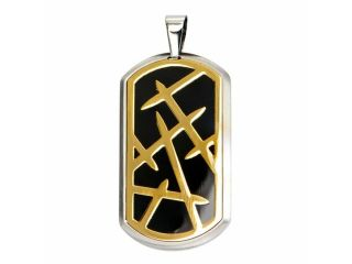 Inox Jewelry Stainless SteelGold Thorn Design Dog Tag Pendant (Black)