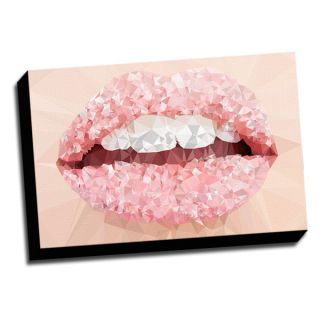Geometric Womans Lips 16x24 Printed on Framed Ready to Hang Canvas
