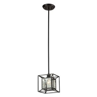 Westmore Lighting Riemann 7 in Oiled Bronze and Clear Water Glass Mini Clear Glass Pendant