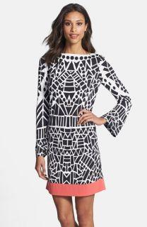 Nicole Miller Yin Yang Print Jersey Shift Dress