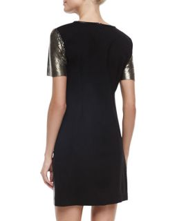 Nicole Miller Artelier Short Sleeve Leather Sheath Dress, Black