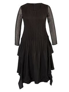 Chesca Plus Size Crush pleat layered dress Black