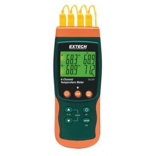 EXTECH Thermocouple Thermometer,4 Input   Thermocouple Thermometers   13X128|SDL200 NIST