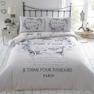 Cream print Hotel de Paris bedding set