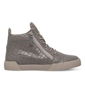 GIUSEPPE ZANOTTI   The Shark 5.0 croc embossed leather high top trainers