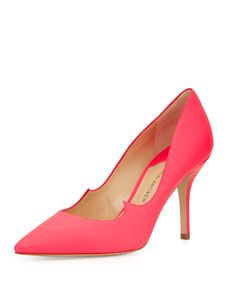 Paul Andrew Rubberized Patent Leather Signature Pump, Neon Rose