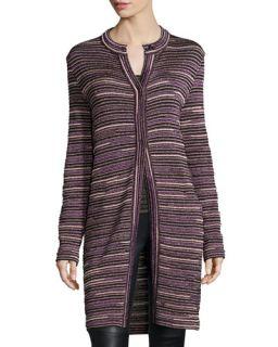 M Missoni Ripple Stitch Snap Front Long Coat