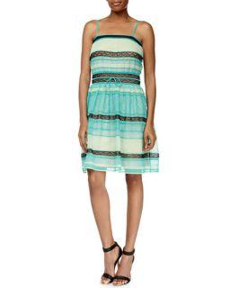 M Missoni Ribbon Stitched A Line Tank Dress, Aqua