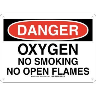 BRADY Danger Sign,14x10,Blk/Wht/Red   No Smoking Signs   23W701|103928