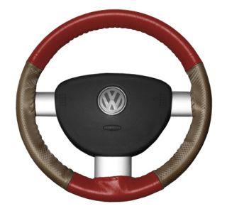 2015 Toyota Sienna Leather Steering Wheel Covers   Wheelskins Red/Oak Perf 15 1/4 X 4 1/2   Wheelskins EuroPerf Perforated Leather Steering Wheel Covers