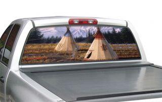 "Window Canvas WC317003 1   Cheyenne Village Full size truck (20"" x 65"") Native American Window Graphics   Window Graphics"