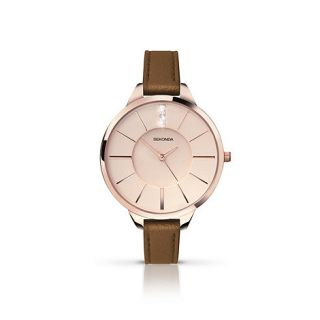 Sekonda Ladies rose gold plated case brown strap watch