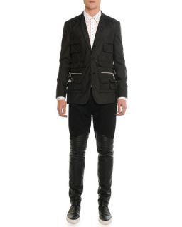Givenchy Contrast Stitching Denim Shirt with Leather Detail, Navy