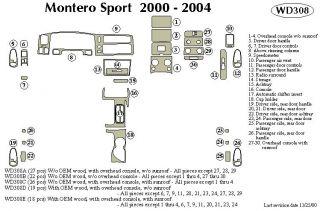 2000 2004 Mitsubishi Montero Sport Wood Dash Kits   B&I WD308B DCF   B&I Dash Kits