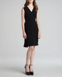 Burberry London Crepe V Neck Sleeveless Dress, Black