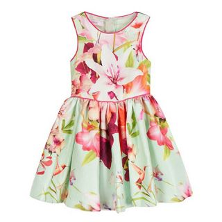 Baker by Ted Baker Girls pale green textured floral print dress