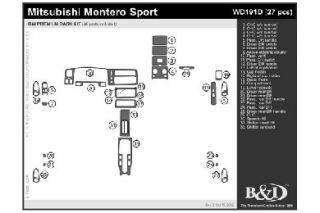 1999 Mitsubishi Montero Sport Wood Dash Kits   B&I WD191D DCF   B&I Dash Kits