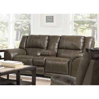 Catnapper Carmine Lay Flat Power Console Leather Loveseat in Smoke   64159122328302328