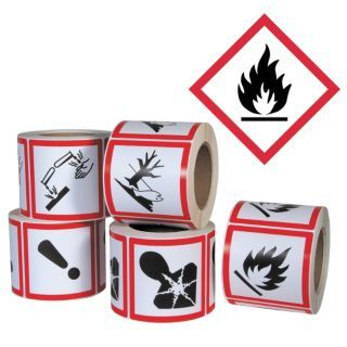 GHS SAFETY Pictogram Label,Flame Hazard,PK500   Right To Know Labels   23J583 GHS1261