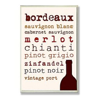 Stupell Industries Wine Types Typography Wall Plaque