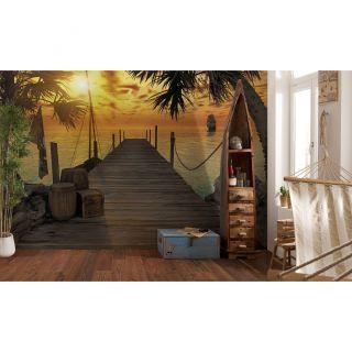 Brewster Home Fashions Komar Treasure Island Dock Wall Mural