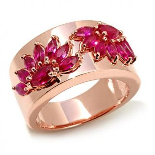 "Victoria Wieck 1.9ctw Absolute™ Created Ruby Rose Vermeil ""Fan"" Ring   8047416"