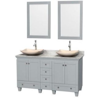 Wyndham Collection Acclaim 60 in. W x 22 in. D Vanity in Oyster Gray with Marble Vanity Top in Carrera White with Ivory Basins and Mirrors WCV800060DOYCMGS5M24