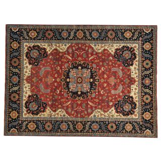 Antiqued Heriz Recreation Hand knotted Oriental Area Rug (92 x 121)
