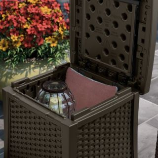 Suncast Deck Box Side Table, Wicker Look Resin, 13 Gal.: Model# BMDB1310