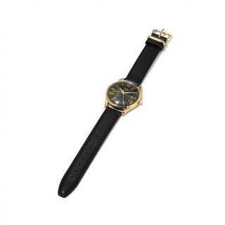 """Henry London """"Chiswick"""" Green Dial Black Leather Strap Watch   8127427"""