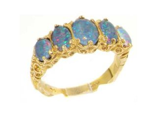 Luxury Ladies Victorian Style Solid Hallmarked 14K Yellow Gold Genuine Opal Triplet Band Ring   Size 7.5   Finger Sizes 5 to 12 Available