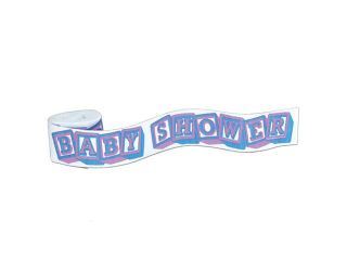 "Club Pack of 12 Cute White, Blue and Pink ""Baby Shower"" Party Streamers 30'"