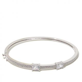 """Absolute™ 2.72ctw 2 Stone Baguette and Pavé 7 1/2"""" Hinged Oval Ban   7879939"""