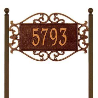 Whitehall Products Lewis Fretwork Rectangular Antique Copper Estate Lawn One Line Address Plaque 5516AC