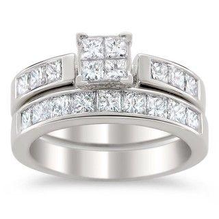 14k White Gold 2ct TDW Certified Multi Stone Princess Cut Diamond