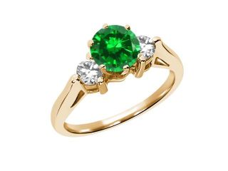 0.94 Ct Round Green Simulated Emerald 925 Yellow Gold Plated Silver 3 Stone Ring